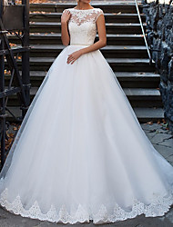 cheap -A-Line Bateau Neck Sweep / Brush Train Lace Cap Sleeve Made-To-Measure Wedding Dresses with Beading 2020