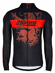 cheap -21Grams Women's Long Sleeve Cycling Jersey Winter Fleece 100% Polyester Black / Red Bike Jersey Top Mountain Bike MTB Road Bike Cycling Thermal / Warm UV Resistant Breathable Sports Clothing Apparel