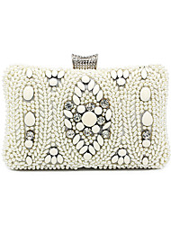 cheap -Women's Crystals / Pearls Polyester / Alloy Evening Bag Geometric Pattern Beige