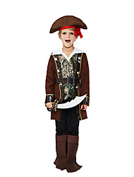 cheap -Pirate Cosplay Costume Outfits Masquerade Kid's Boys' Cosplay Halloween Halloween Festival / Holiday Polyster Brown Carnival Costumes / Top / Pants / Belt / Hat / Shoe Cover