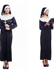Недорогие -монахиня Товары для Хэллоуина Взрослые Жен. Хэллоуин Хэллоуин Фестиваль / праздник полиэфирное волокно Черный Жен. Карнавальные костюмы / Костюм