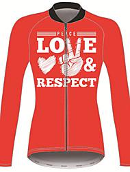 abordables -21Grams Paix Amour Femme Manches Longues Maillot Velo Cyclisme - Rouge Vélo Maillot Hauts / Top Chaud Résistant aux UV Respirable Des sports Hiver Toison 100 % Polyester VTT Vélo tout terrain Vélo