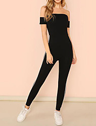 cheap -Women's Off Shoulder Workout Jumpsuit Solid Color Yoga Fitness Gym Workout Bodysuit Activewear Breathable Moisture Wicking Quick Dry High Elasticity Slim