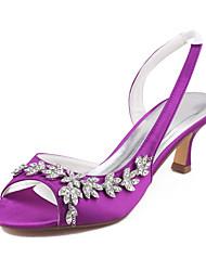 cheap -Women's Wedding Shoes Spool Heel Open Toe Rhinestone Satin Summer Black / Purple / Dark Purple / Party & Evening