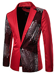 cheap -Men's Blazer, Color Block Shirt Collar Polyester Black / Red