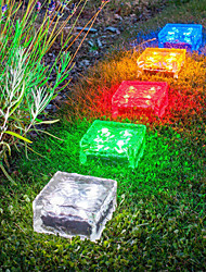 cheap -2pcs 1 W Tempered Glass Tile Light / Lawn Lights Waterproof / Solar / New Design Warm White / White / Red 1.2 V Swimming Pool / Courtyard / Garden 1 LED Beads