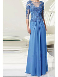 cheap -A-Line Bateau Neck Floor Length Chiffon / Lace 3/4 Length Sleeve Elegant & Luxurious Mother of the Bride Dress with Appliques 2020