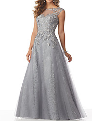 cheap -A-Line Boat Neck Floor Length Lace / Tulle Beautiful Back Formal Evening Dress with Beading / Appliques 2020