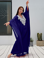 cheap -Belly Dance Outfits Women's Performance Chiffon Beading Half-Sleeve Dropped Coat / Dress