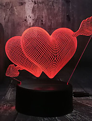 cheap -Romantic Love 3D Arrow Through the Heart LED Night Light Desk Lamp Wedding Bedroom Decoration Lovers and Couple and love Best Gift