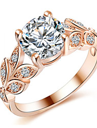 cheap -Women's Adjustable Ring AAA Cubic Zirconia 1pc Silver Rose Gold Silver Plated Unique Design European Trendy Gift Daily Jewelry Floral Theme Cute