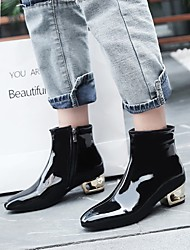 cheap -Women's Boots Chunky Heel Square Toe Buckle Faux Leather Booties / Ankle Boots Sweet / Minimalism Walking Shoes Spring &  Fall / Fall & Winter Black / Blue / Pink / Color Block