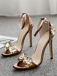 cheap -Women's Sandals Stiletto Heel Round Toe Patent Leather Summer Brown