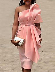 cheap -Women's Sheath Dress - Solid Colored Blushing Pink S M L XL