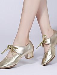 cheap -Women's Latin Shoes Synthetics Heel Cuban Heel Dance Shoes Black / White / Gold / Leather / Practice