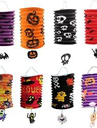 cheap -8PCS Halloween folding organ paper lantern portable paper for children pumpkin bat skeleton pendant lamp Decoration