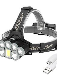 Недорогие -BRELONG® Налобные фонари Водонепроницаемый Светодиодная лампа 8 излучатели с батарейками и зарядным устройством Водонепроницаемый Простота транспортировки Жутко