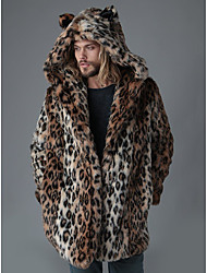 cheap -Men's / N / A Going out Winter Long Coat, Leopard Hooded Long Sleeve Faux Fur Brown