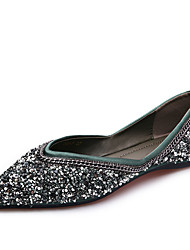 cheap -Women's Flats Glitter Crystal Sequined Jeweled Flat Heel Pointed Toe PU Casual Fall Green / Black