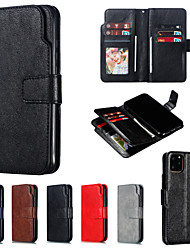 cheap -Phone Case For Apple Full Body Case Leather Wallet Card iPhone 12 Pro Max 11 SE 2020 X XR XS Max 8 7 6 Wallet Card Holder Flip Solid Color PU Leather PC