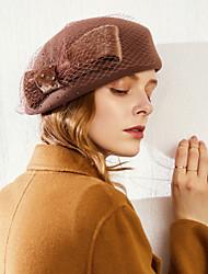 cheap -Mink Fur / 100% Wool Fascinators / Headwear with Bowknot / Paillette 1pc Casual / Daily Wear / Horse Race Headpiece