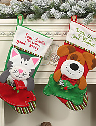 cheap -Christmas stockings socks cat dog Elk Christmas New Year candy bag Christmas decorations Christmas tree ornaments party kids gift bags