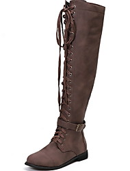 cheap -Women's Boots Knee High Boots Flat Heel Round Toe Suede Knee High Boots Fall & Winter Black / Yellow / Coffee