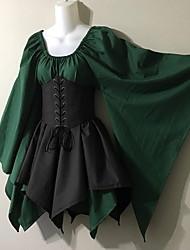 cheap -Women's Asymmetrical Khaki Green Dress Street chic A Line Color Block Square Neck S M