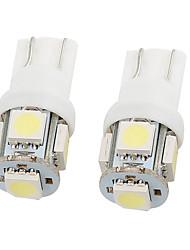 Недорогие -2 шт 12v белый 5050 t10 5 smd автоматический светодиодный указатель поворота боковой габаритный фонарь - общее применение