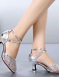 cheap -Women's Modern Shoes / Ballroom Shoes Mesh Heel Cuban Heel Dance Shoes Black / Gold / Silver / Performance