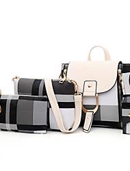 cheap -Women's Pattern / Print / Zipper Canvas / PU Bag Set Color Block 4 Pieces Purse Set Black / Red / Camel