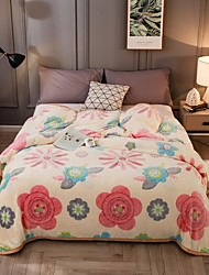 cheap -Sofa Throw / Children's Blankets / Multifunctional Blankets, Cartoon / Floral Botanical Flannel Toison / Polyester Soft Comfy Blankets