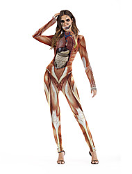 cheap -Zombie Cosplay Costume Adults' Women's One Piece Halloween Halloween Festival / Holiday Polyster Red Women's Carnival Costumes / Leotard / Onesie