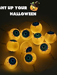 cheap -1.5m 10 LED Horror Eyeball String Lights Halloween String Lights Colorful Rope Lights for Indoor Outdoor Party Home Decoration
