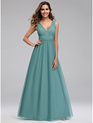 cheap -A-Line V Neck Floor Length Tulle Bridesmaid Dress with Ruching
