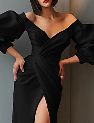 cheap -Women's Sheath Dress - Solid Colored Maxi Black White S M L XL
