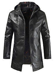 cheap -Men's Daily Regular Leather Jacket, Solid Colored Hooded Long Sleeve PU Black