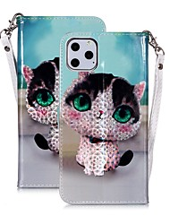 cheap -Case For Apple iPhone 11 / iPhone 11 Pro / iPhone 11 Pro Max Wallet / Card Holder / Flip Full Body Cases Cat PU Leather
