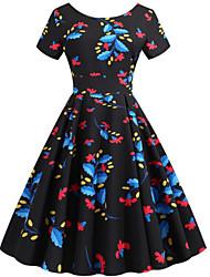 cheap -Women's Sheath Dress - Floral Black Red S M L XL