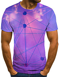 cheap -Men's Daily Sports Basic / Exaggerated T-shirt - Color Block / 3D / Tie Dye Black & White, Print Blue