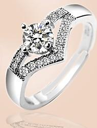 cheap -Women's Ring 1pc Silver Copper Platinum Plated Circular Basic Korean Fashion Gift Jewelry Sweet Heart Heart