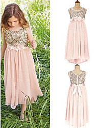 cheap -A-Line Jewel Neck Asymmetrical Chiffon / Sequined Junior Bridesmaid Dress with Sash / Ribbon