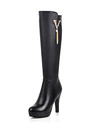 cheap -Women's Boots Knee High Boots Chunky Heel Round Toe PU Knee High Boots Business / British Fall & Winter Black / Party & Evening