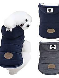 cheap -Dog Coat Hoodie Winter Dog Clothes Blue Gray Costume Husky Labrador Alaskan Malamute Cotton Solid Colored Keep Warm Windproof Fashion S M L XL XXL