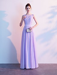 cheap -A-Line Jewel Neck Floor Length Lace Elegant Formal Evening Dress with Appliques / Draping / Embroidery 2020