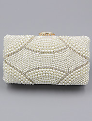cheap -Women's Crystals / Pearls Polyester / Alloy Evening Bag Solid Color Beige