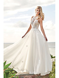 cheap -A-Line Jewel Neck Sweep / Brush Train Chiffon / Lace Regular Straps Beach / Boho Backless Wedding Dresses with Buttons / Appliques 2020
