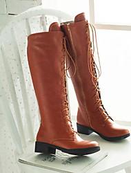cheap -Women's Boots Knee High Boots Block Heel Round Toe PU Knee High Boots Fall & Winter Black / Brown / Beige