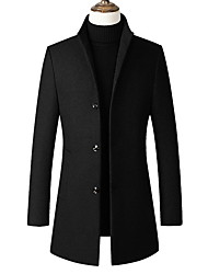 cheap -Men's Daily Long Coat, Solid Colored Stand Long Sleeve Polyester Black / Red / Gray / Slim