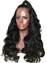 cheap -Synthetic Wig Body Wave Layered Haircut Lace Front Wig Very Long Black#1B Synthetic Hair 58~62 inch Women's Synthetic Black